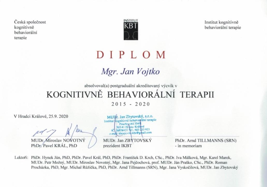 Honza Vojtko: certifikát Kognitivně-behaviorální terapie